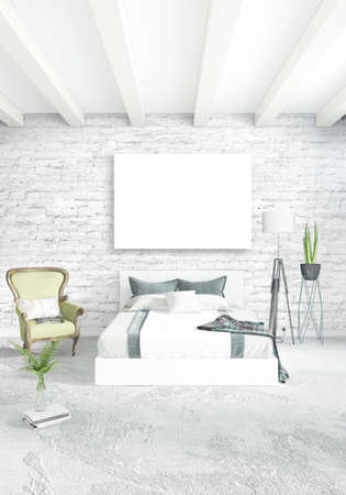 residential: Loft bedroom or living room minimal style Interior design with eclectic wall and stylish sofa. 3D Rendering. Stock Photo