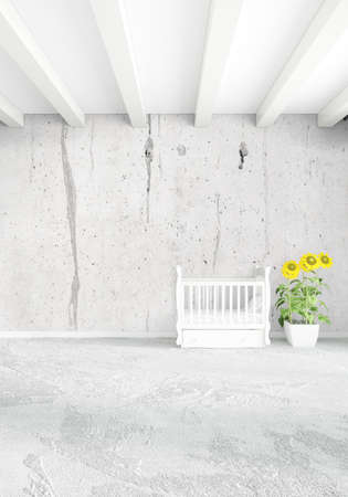 interior design: Vertical concept of loft nursery in minimal style interior design with eclectic wall. 3D Rendering.