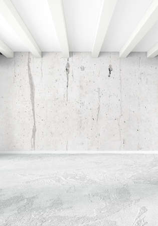 interior design: White loft empty bedroom minimal style Interior design with wood wall and copyspace. 3D Rendering.