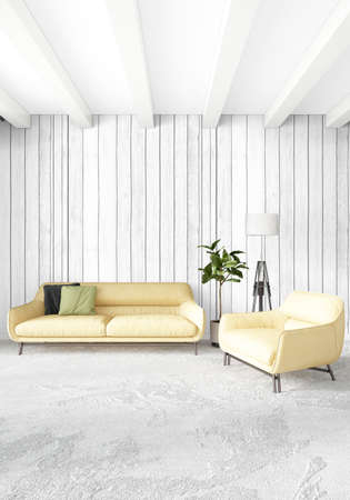 interior design: Yellow loft bedroom or livingroom in modern style Interior design with exuding wall and stylish furniture. 3D Rendering.