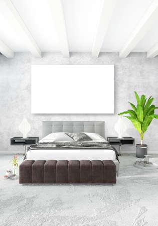 interior design: Loft bedroom or living room minimal style Interior design with eclectic wall and stylish sofa. 3D Rendering. Stock Photo