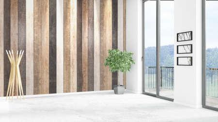 새로운 화이트 로프트 침실 최소 스타일 인테리어 디자인 copyspace 벽 및 창 밖으로보기. 3D 렌더링.