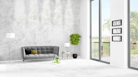 Gloednieuw wit minimaal de stijl binnenlands ontwerp van de zolderslaapkamer met copyspacemuur en mening uit venster. 3D-weergave. Stockfoto