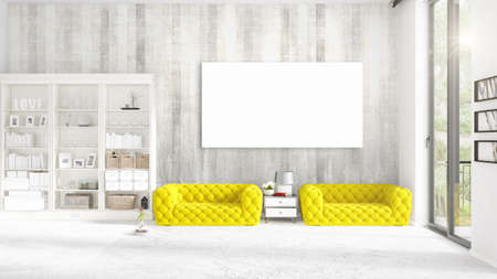 Modern interior in vogue with yellow couch, vertical empty frame and copyspace in horizontal arrangement. 3D rendering. Stock Photo