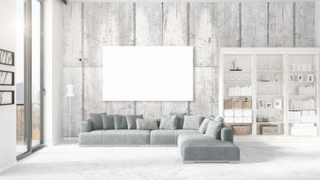 Fashionable modern loft interior in vogue with empty frame and copyspace in horizontal arrangement. 3D rendering. Stock Photo
