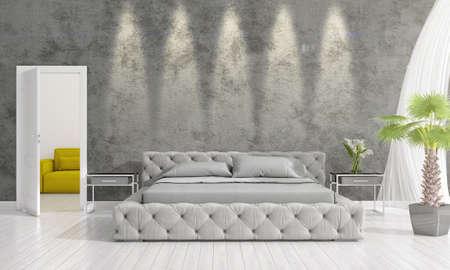 Modern interior design of bedroom in vogue with plant and copyspace in horizontal arrangement. 3D rendering.