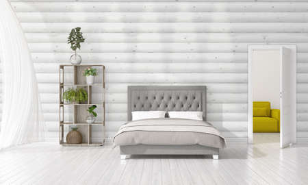 divan: Modern interior design of bedroom in vogue with plant and copyspace in horizontal arrangement. 3D rendering.