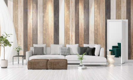 Modern loft interior design of livingroom in vogue with plant, yellow divan, copyspace. Horizontal arrangement. 3D rendering