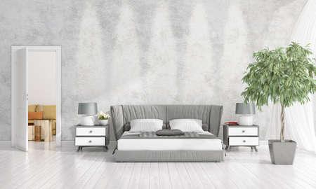 Modern loft interior design of bedroom in vogue with plant and copyspace in horizontal arrangement. 3D rendering.