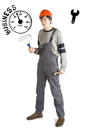 Business concept of self-made man. Young laborer man in orange helmet over white background with sketches. 版權商用圖片