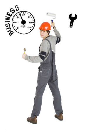 Business concept of self-made man. Young laborer man in orange helmet over white background with sketches. Standard-Bild