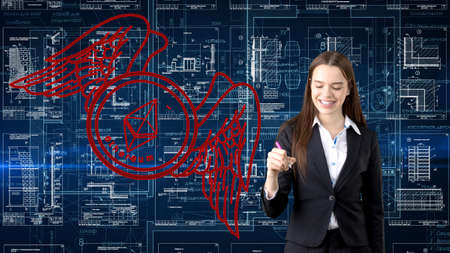 Ethereum sketch with young businesswoman in a suit with longhair and pretty thoughtful face. Criptocurrency concept.