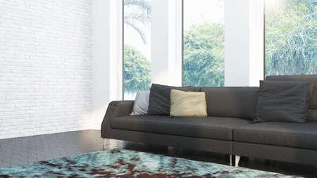Intérieur de salon design moderne avec belle vue. rendu 3D