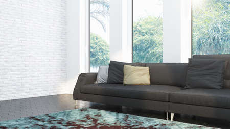 Modern design living room interior with beautiful view . 3D rendering