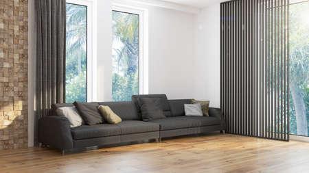 Interior de la sala de estar de diseño moderno con hermosa vista. Representación 3D Foto de archivo
