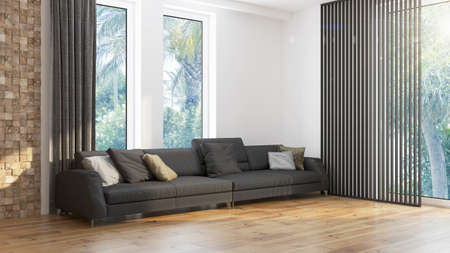 Modern design woonkamer interieur met prachtig uitzicht. 3D-rendering Stockfoto