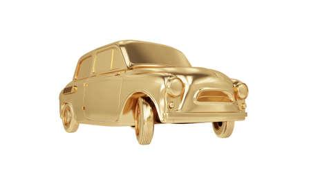 little city golden car isolated. 3d rendering