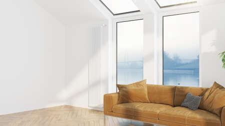 Interiore del salone di design moderno con splendida vista. Rendering 3D