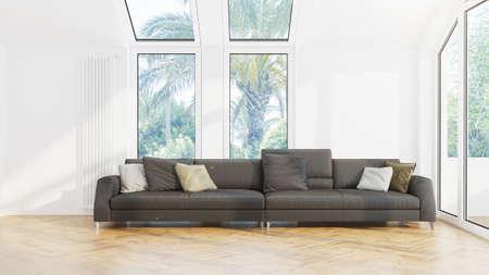 Interior de la sala de estar de diseño moderno con hermosa vista. Representación 3D