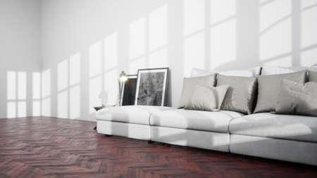 Modernes Design-Wohnzimmer mit schöner Aussicht. 3D-Rendering
