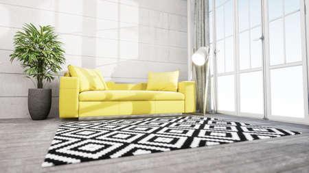 Modern design living room interior in Scandinavian style . 3D rendering