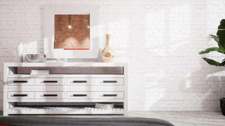 Beautiful modern living room interior in Scandinavian style. 3D rendering