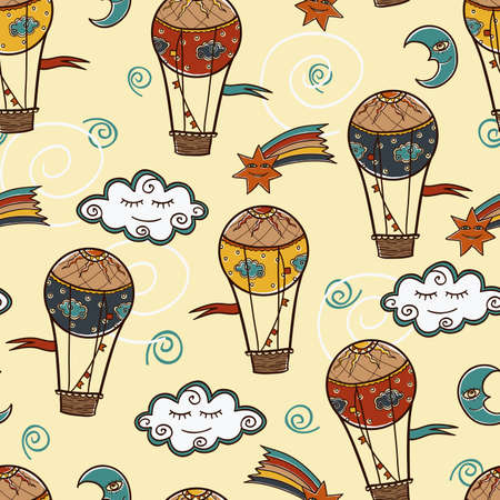 seamless pattern with Hot air balloon Vector