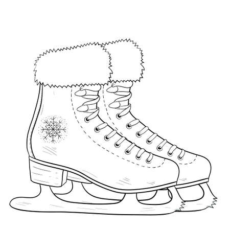 Illustration of antique ice skating shoes and blades. Vector coloring page black and white illustration isolated on white background 向量圖像
