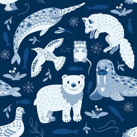 Cartoon seamless pattern of different Arctic animals and beauty ornaments. Suitable for printing packaging, fabric, wallpaper. Limited color palette, shades of blue.