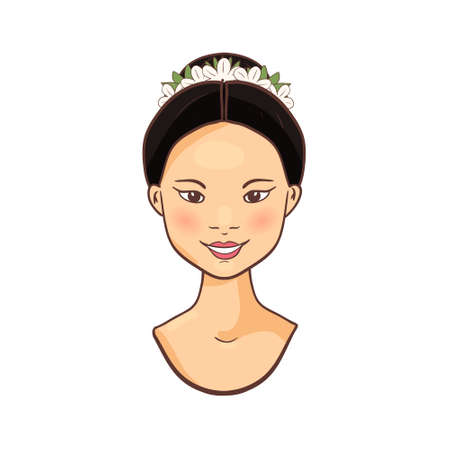 Young beautiful asian woman Female smiling faces icon Isolated on a white background.