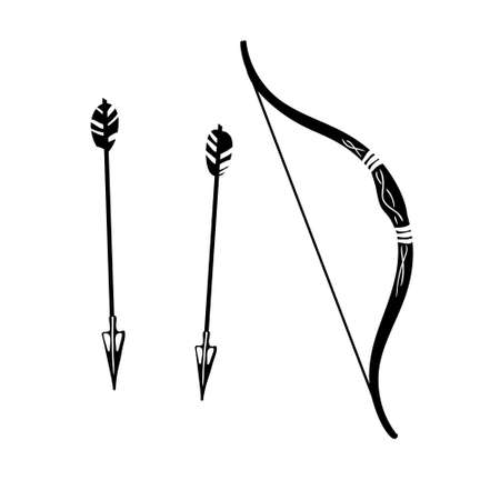 Bow and arrows black silhouette.