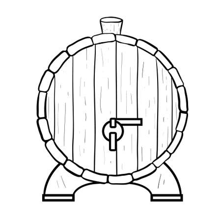 Line art black and white beer barrel