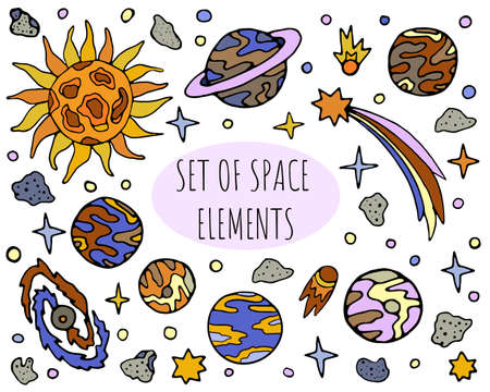 Hand drawn space elements collection vector set