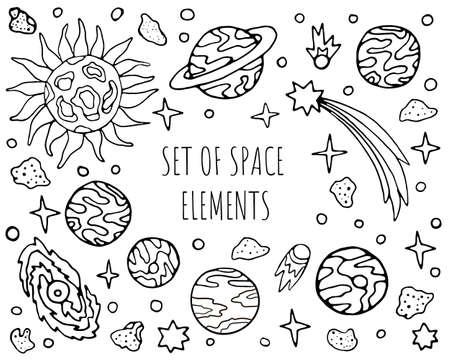 Hand drawn space cosmic elements collection set Vektoros illusztráció