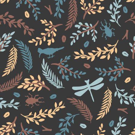 Beautiful seamless pattern with flora and fauna Vettoriali