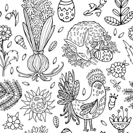 Vector Cute Seamless Doodle Pattern Coloring page