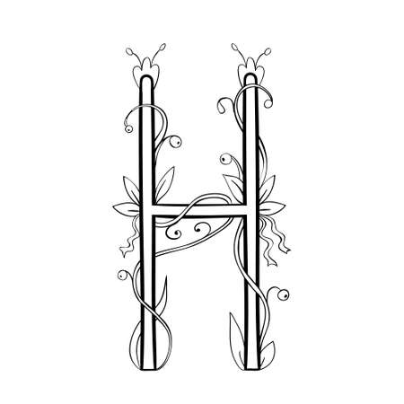 Autumn leaves font, Letter H Coloring page