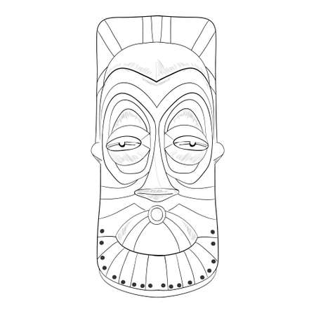Cartoon African mask Isolated On White Background Иллюстрация