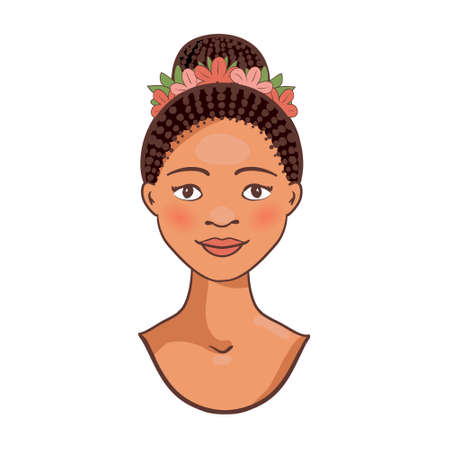 Afro American beautiful young woman Vector avatar.