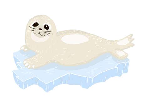 Cute baby seal cartoon lying on ice floe Vector