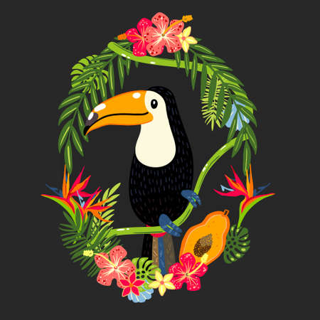 Cute toucan sitting on tropical branch vector art  イラスト・ベクター素材