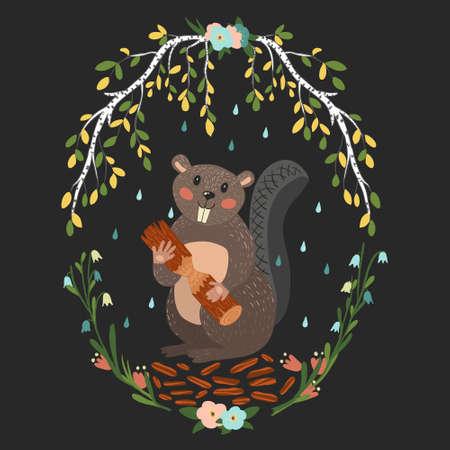 Cute cartoon beaver, vector art for children