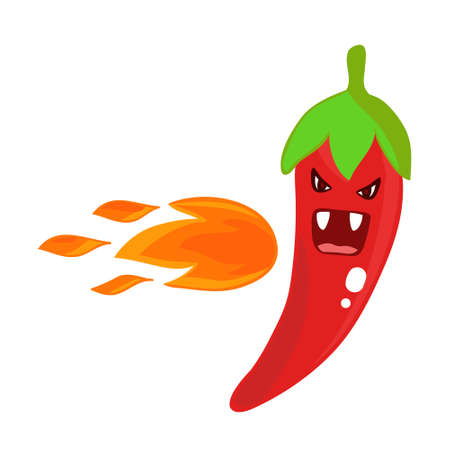Cute red hot angry pepper, vector flat character