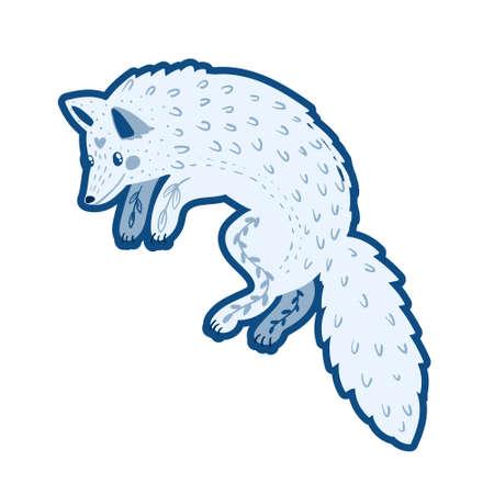 Cute Cartoon character monohrom Polar fox vector
