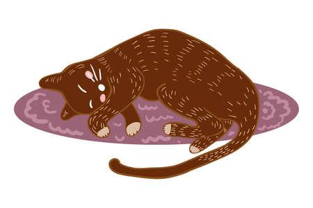 Cute cat sleep on the rug vector illustration