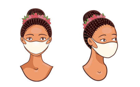 African Woman set Wearing Face Vector Mask