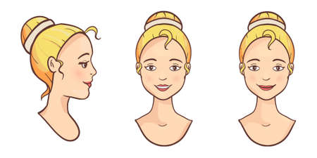 Young smiling beautiful blonde women face icon
