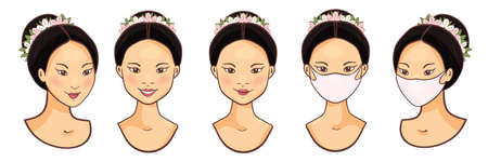 Vector Set of stylish asian beauty girls avatars