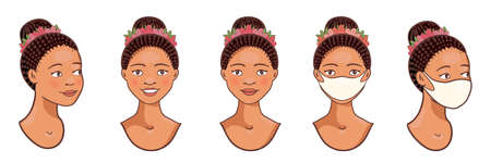 Vector Set of stylish African beauty girls avatars 일러스트