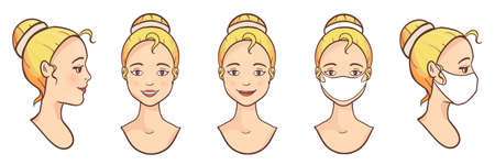 Vector Set of blond hair girl avatars